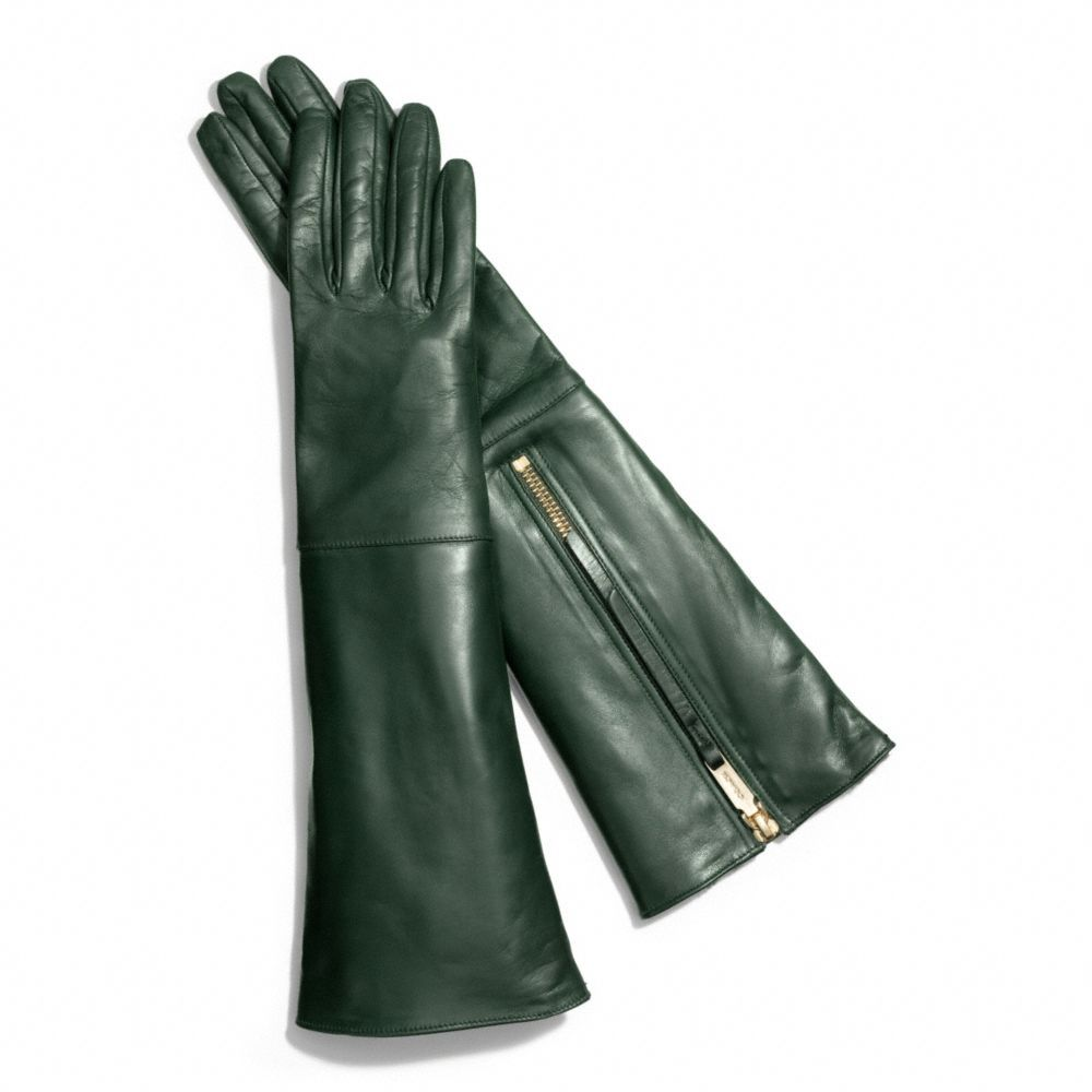 Womens leather gloves green - The Leather Glove With Rabbit Interior From Coach