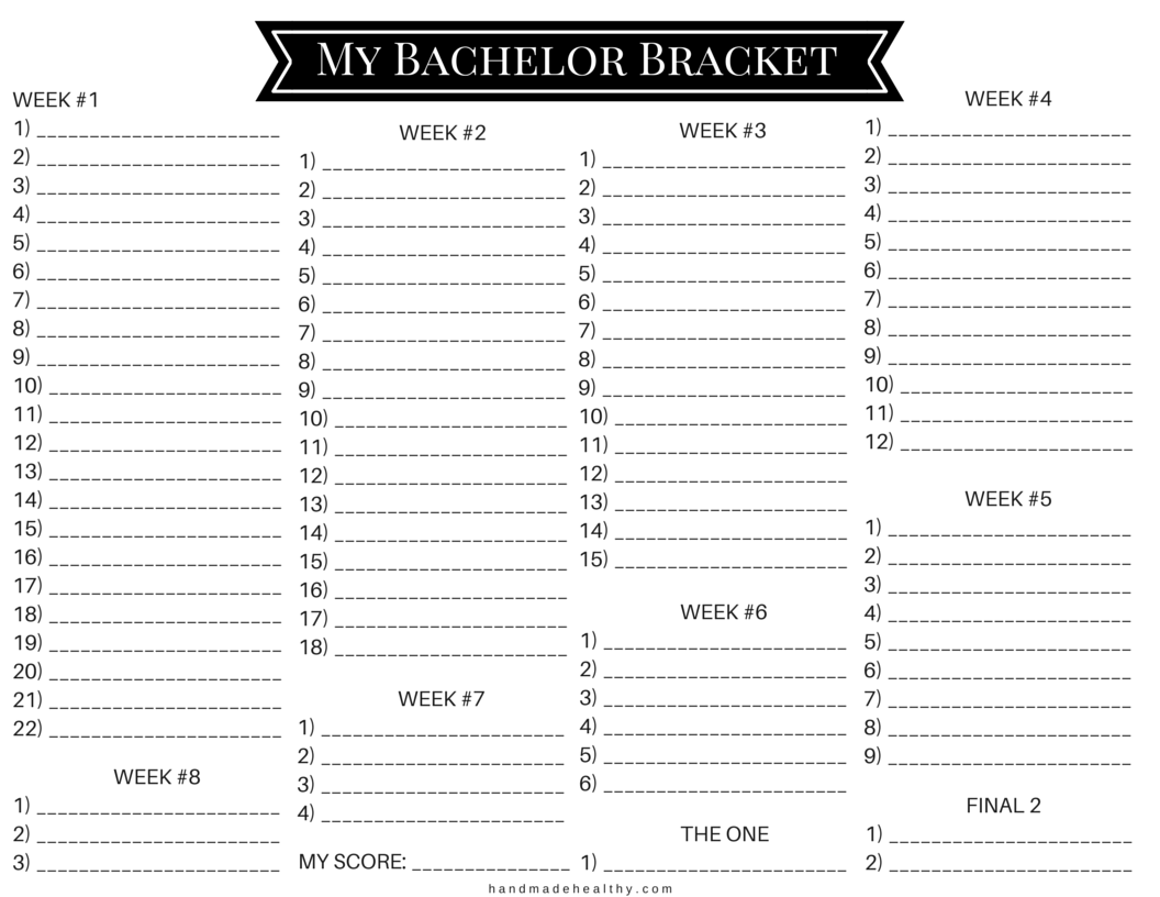 picture regarding Printable Bachelor Bracket referred to as MY BACHELOR BRACKET PRINTABLE  In the direction of