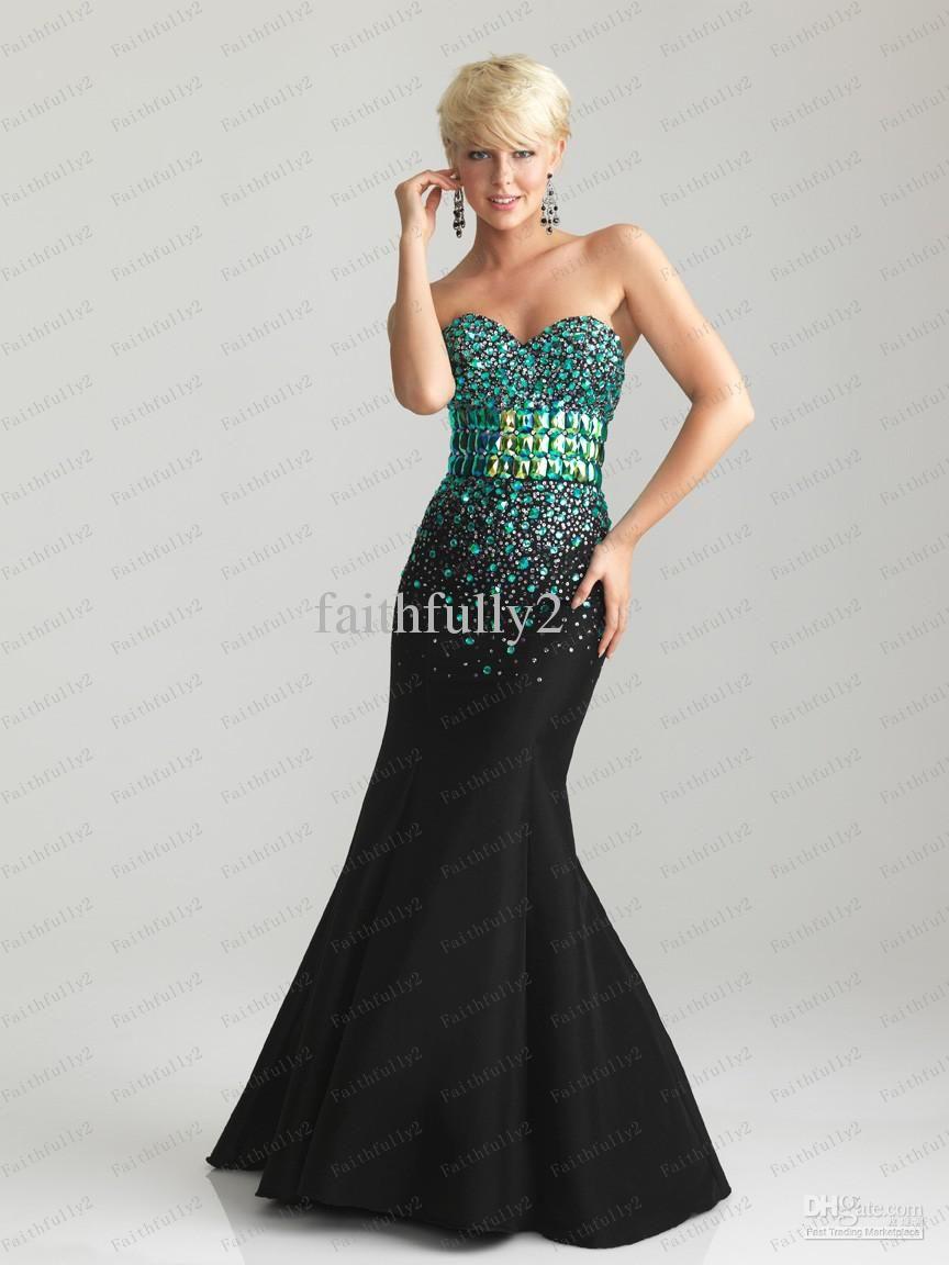 Black teal mermaid prom dress sweetheart beaded waistband bodice