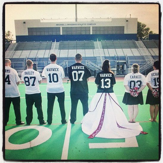 Football Themed Wedding With Bride And Groom Jerseys In Clic Black White We Made These For The Warwick They Were A Touchdown