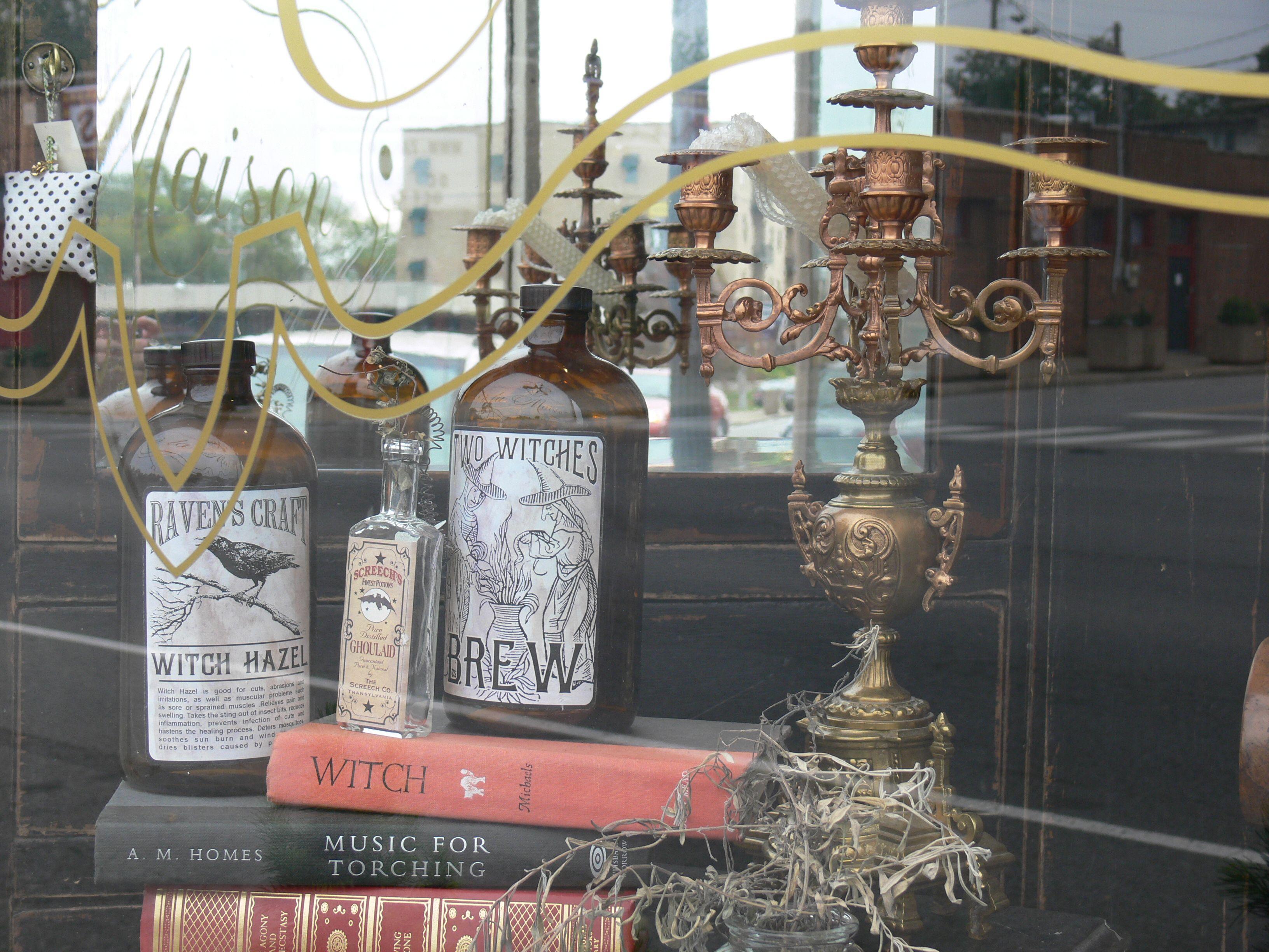 a la Maison (window display) Halloween bottles