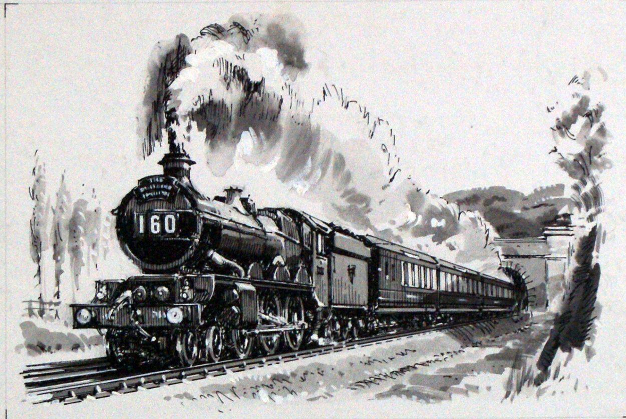 Great Western Steam Locomotive Original Art By John S Smith At