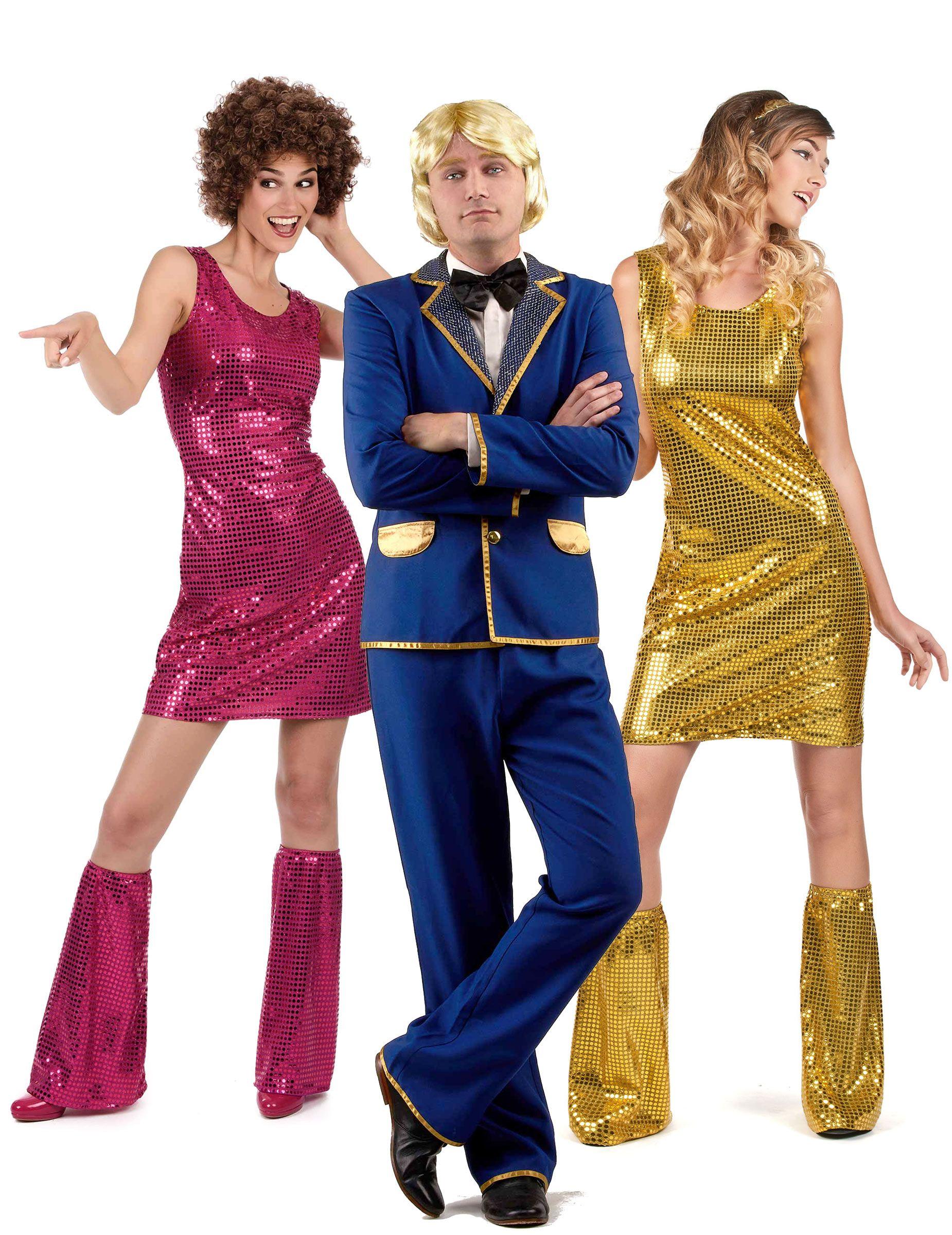 Costume di gruppo Cantante disco e ballerine  Costume disco brillante blu  per uomo Uno splendido 6d5c2cd60e05