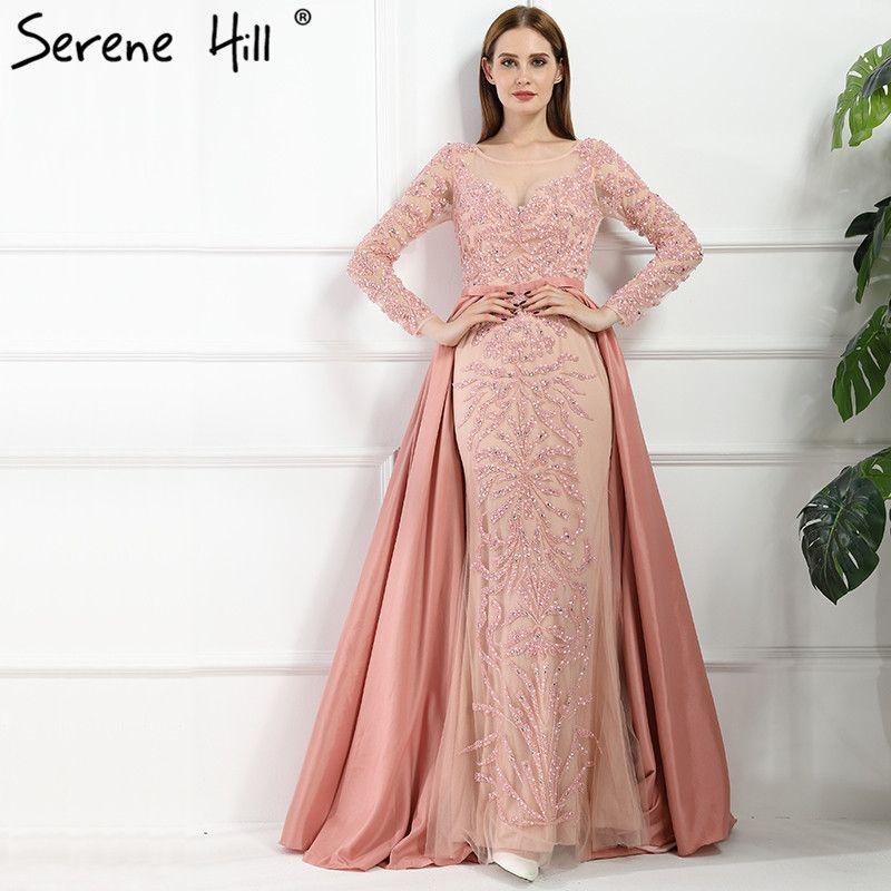 Luxus Rosa Meerjungfrau Abendkleider Aufsteckbaren Zug Lange Ärmel ...