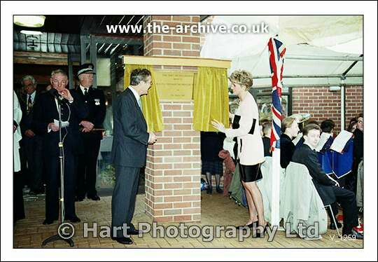 Princess Diana unveiling the official plaque at the official opening of Mary Stevens Hospice Oldswinford, Stourbridge, West Midlands. 5th of March 1992.