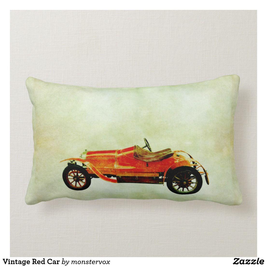 Vintage Red Car Lumbar Pillow Zazzle Com Red Car Lumbar