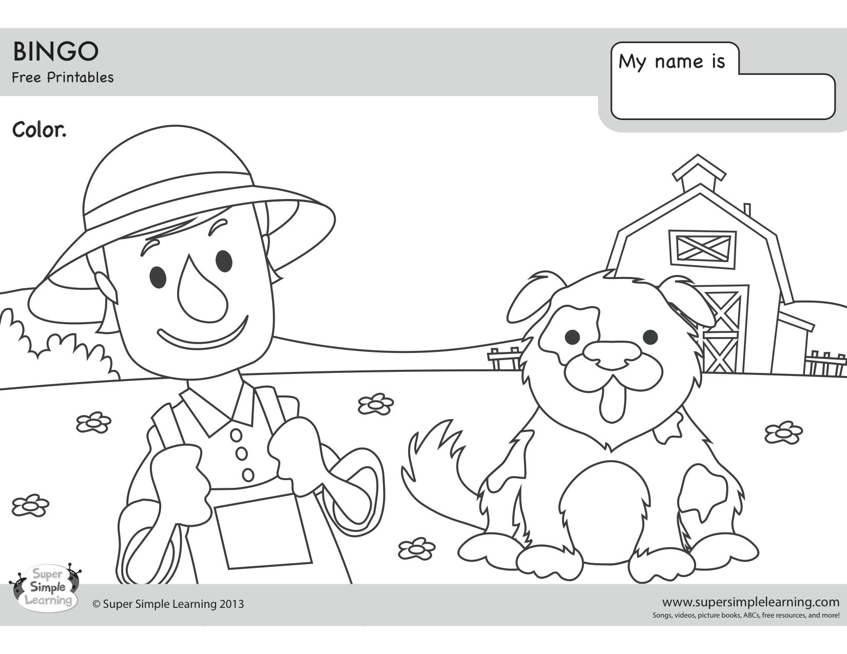 Bingo Coloring Page Super Simple Songs Coloring Pages Kids English