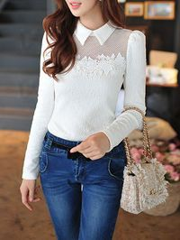 Paneled Lace Long Sleeved Top