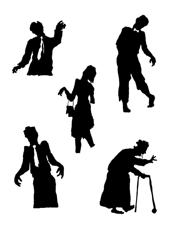 image regarding Free Printable Silhouettes titled Halloween Zombies Silhouette No cost Printable. #halloween
