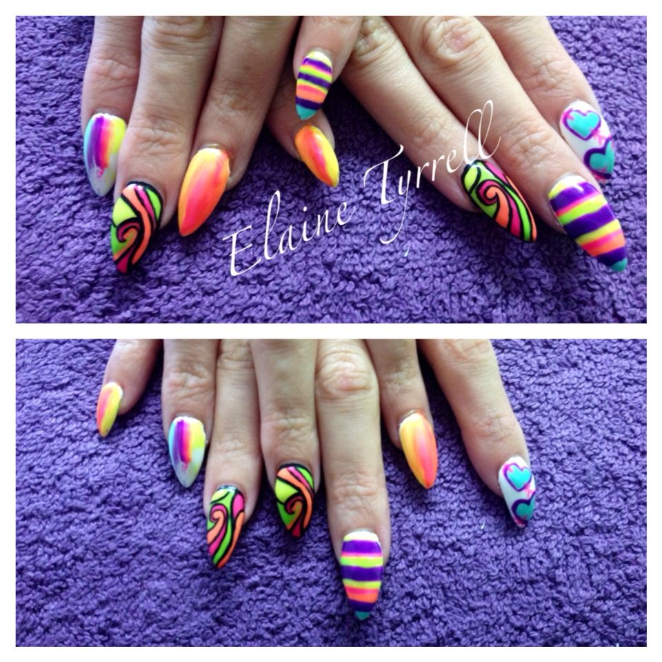 Bright Summer designs all done with gel polish over