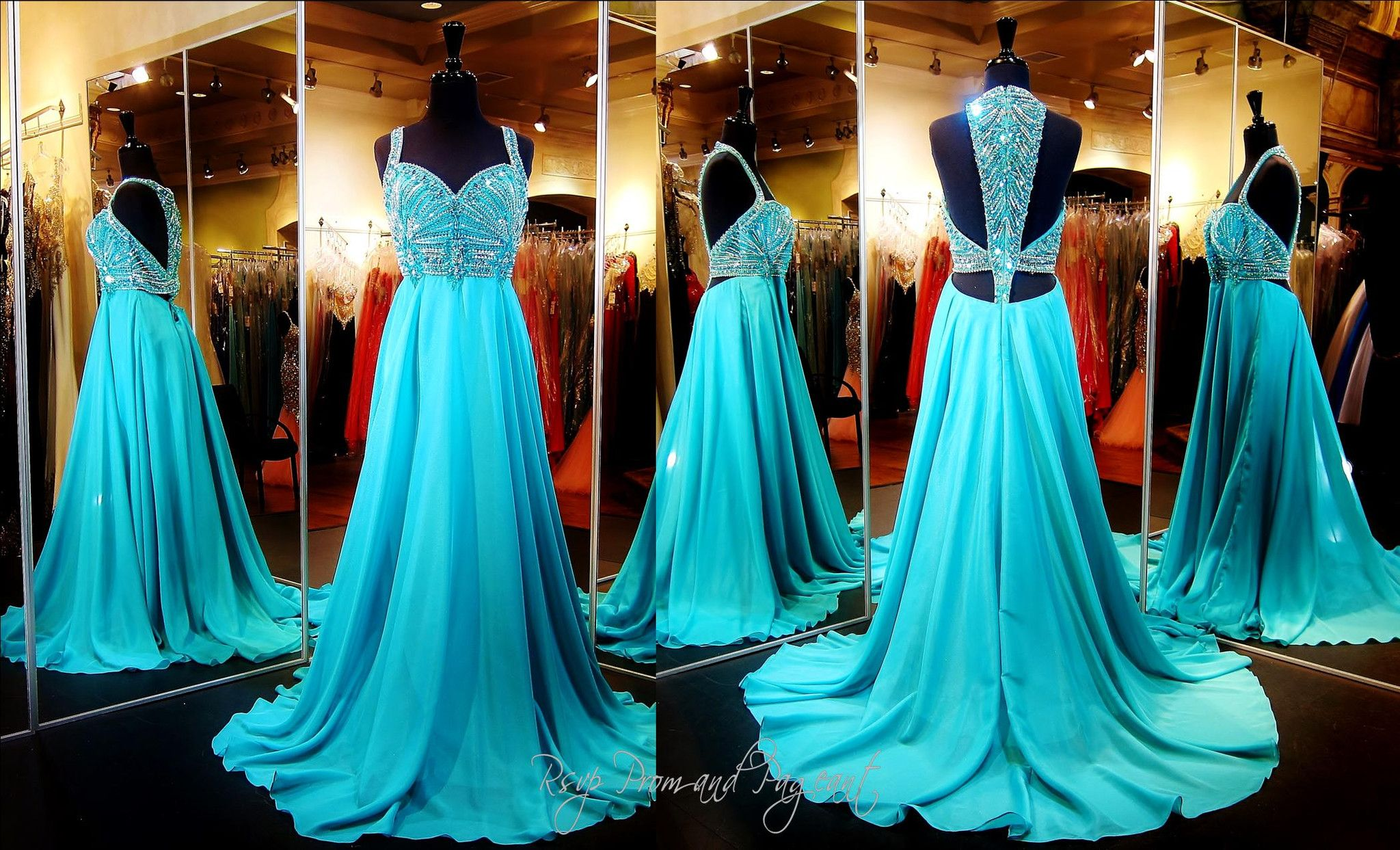 Jade Chiffon Evening Gown-Beaded Sweetheart Neckline-Low Open Beaded ...