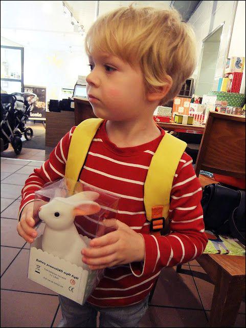 lastenvaateralli: BLOG PICNIC!  Little boy with woodland rabbit nightlight.