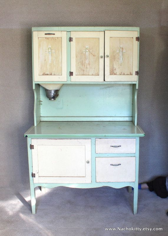 Reserved for Leah: 1930s Hoosier Cabinet Green & Cream ...