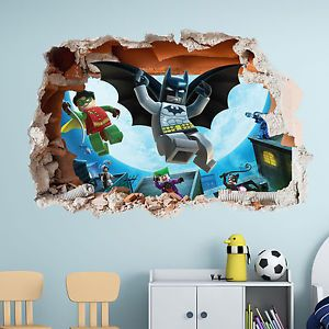 Lego batman wall sticker - 3d boys girls bedroom vinyl wall art decal & Lego batman wall sticker - 3d boys girls bedroom vinyl wall art ...
