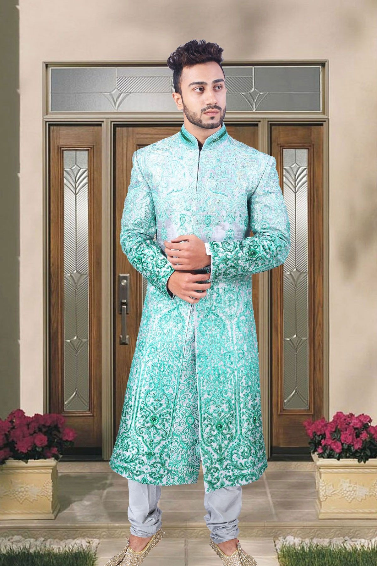 White & blue raws silk wedding sherwani in full sleeves-SH192 #white ...