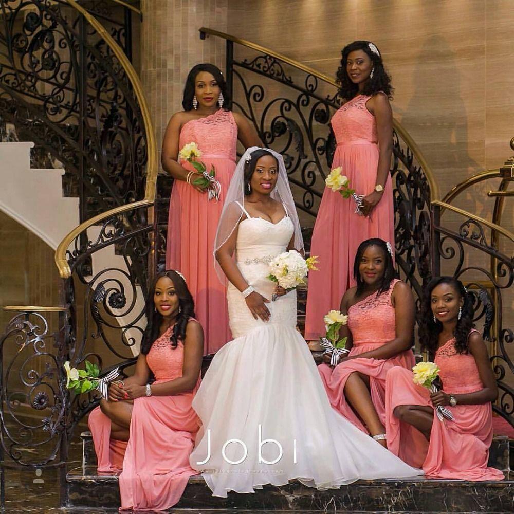 One shoulder lace long coral bridesmaid dresses bridesmaid one shoulder lace long coral bridesmaid dresses ombrellifo Choice Image