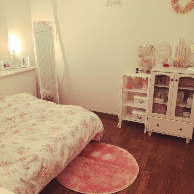 ベッド周り/ペーパーフラワーリース/花柄が好き/ラグ/ピンク ...