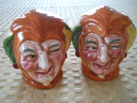 Toby Joker Salt and Pepper Shakers  Vintage by DEWshophere on Etsy, $19.99