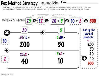 Math 5th Grade Box Method Google Search 5th Grade Math Ideas