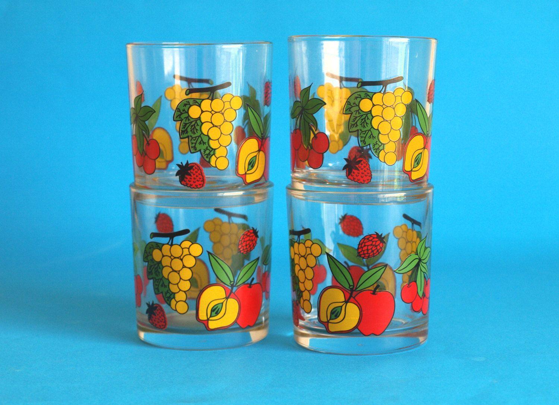 Retro Italian Fruit Drinking Glasses - Cherries Strawberry Covetro ...