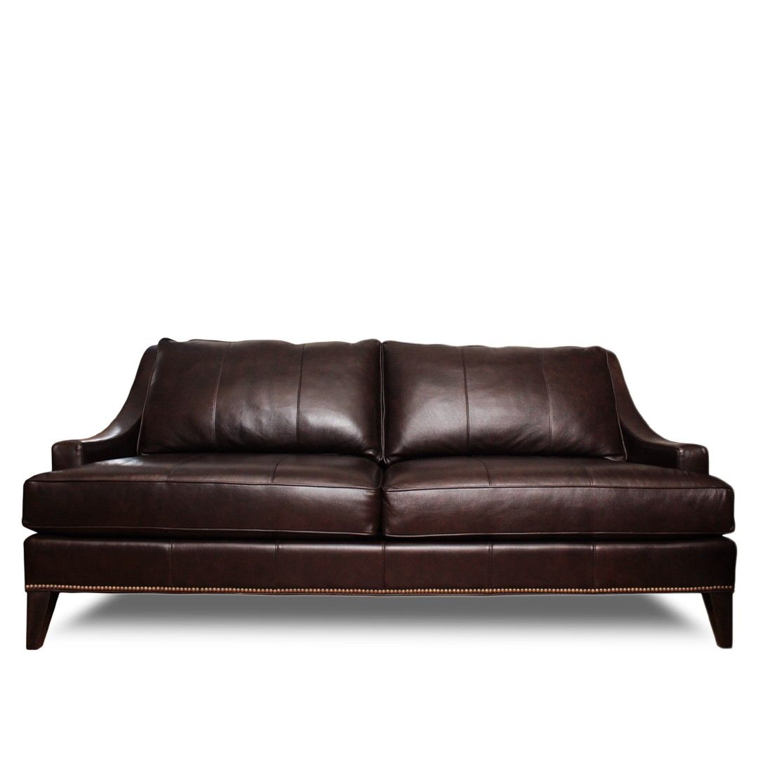 Ethan Allen Monterey Leather Sofa With Br Railheads