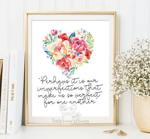 Printable Jane Austen Quote Print Wall Art Decor Poster Quote Print