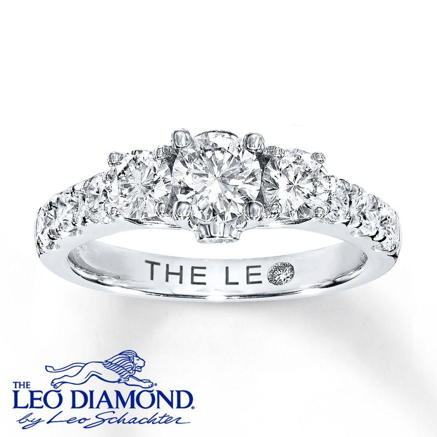 Leo Diamond Ring 1 38 Ct Tw Roundcut 14k White Gold: Leo 3 Stone Wedding Bands At Reisefeber.org