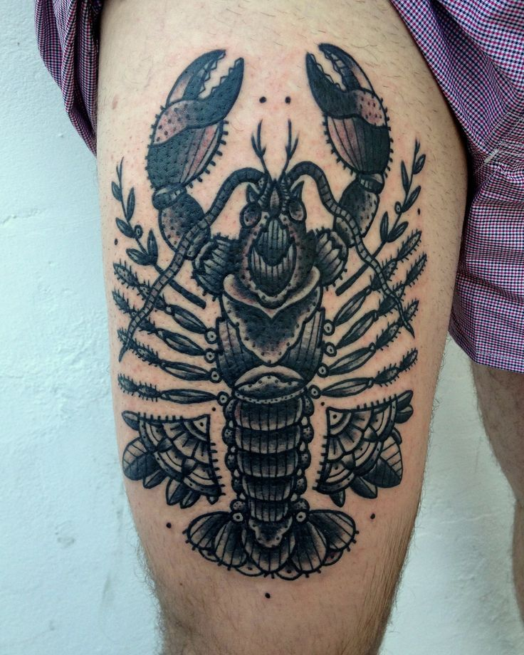 d1afca6a8 Traditional Lobster Tattoo | Nautical Tattoos | Lobster tattoo, Leg ...