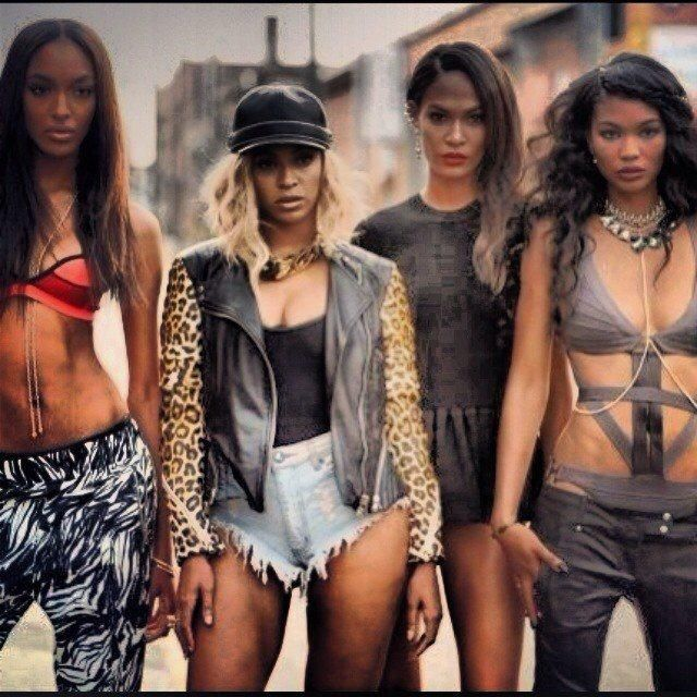 Jourdan Dunn, Beyoncé, Joan Smalls, and Chanel Iman in her new video, Yoncé