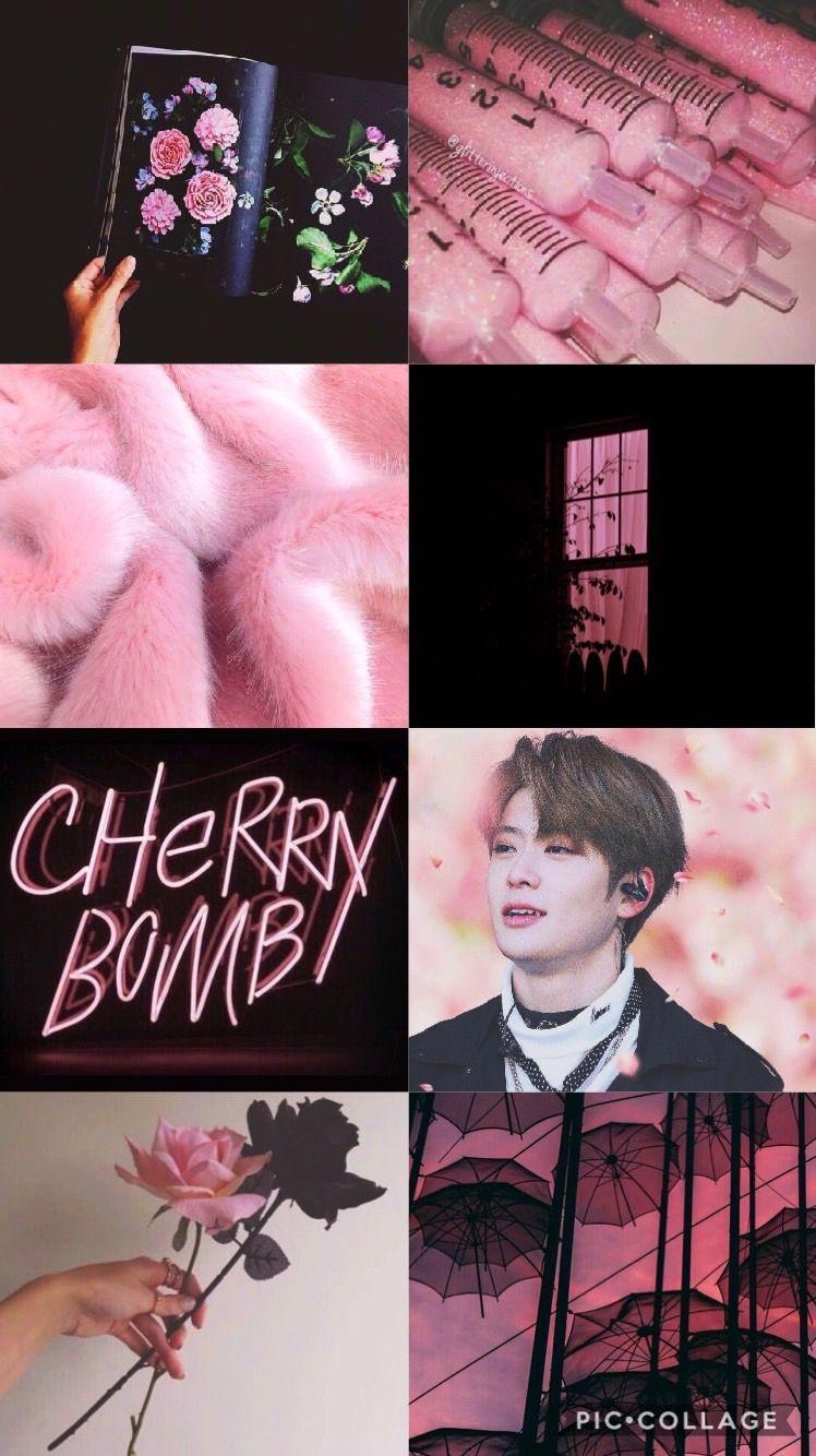 Created By Bvb Jaehyun Jae Nct Nct2018 Nct127 Nctu Kpop Aesthetic Collage Wallpaper Lockscreen Pink Black Wallpaper Iphone Kolase Foto Gambar