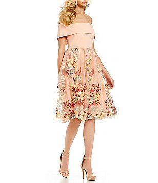 ef7ea1e88fe Gianni Bini Laura Off the Shoulder Floral Mesh Dress