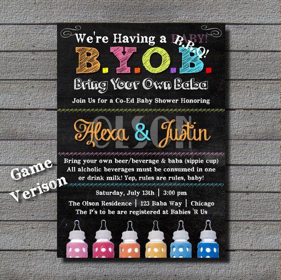New Fun B Y O B Bbq Baby Shower Digital File By