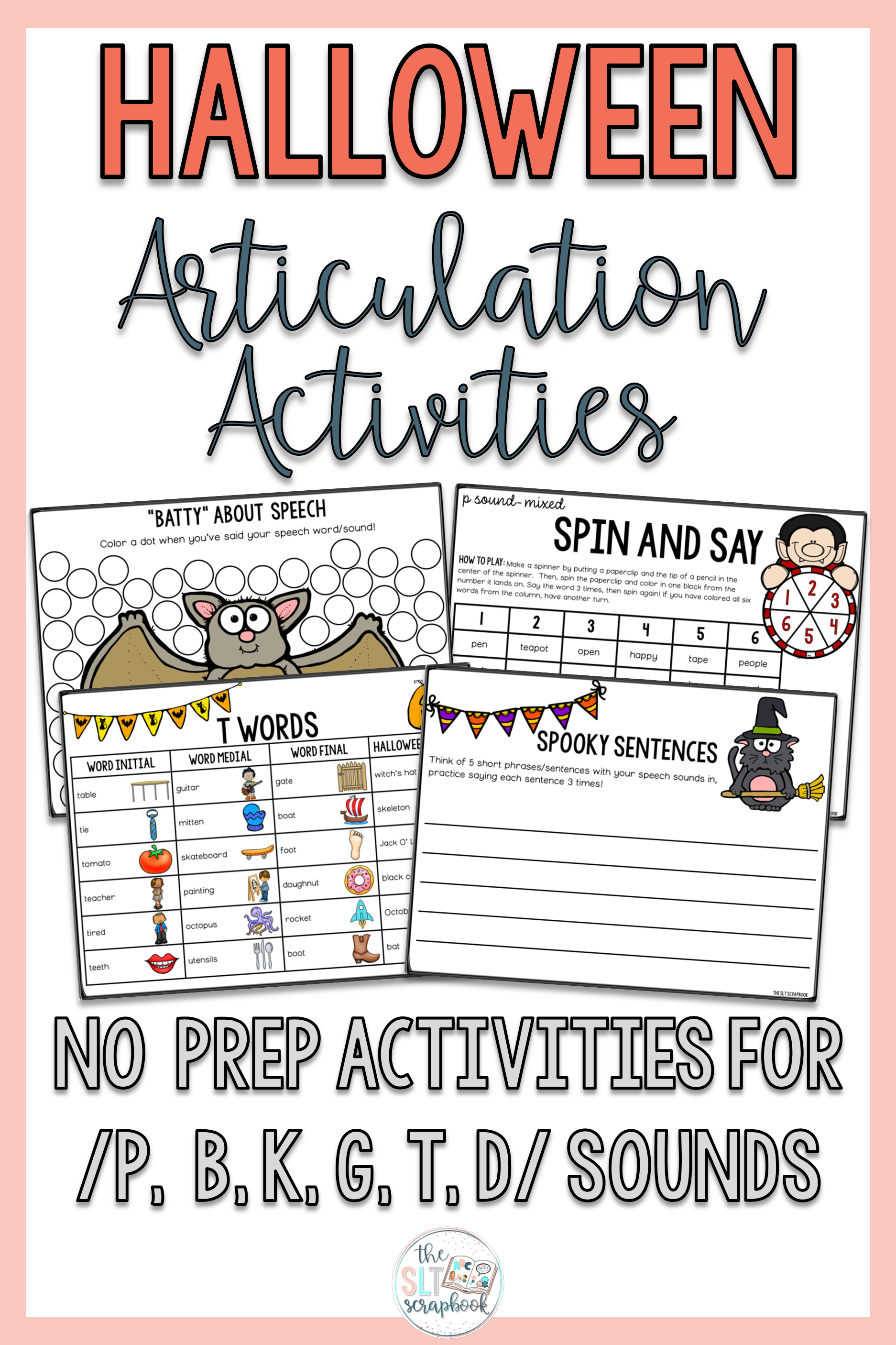 Halloween Articulation Phonology Worksheets No Prep