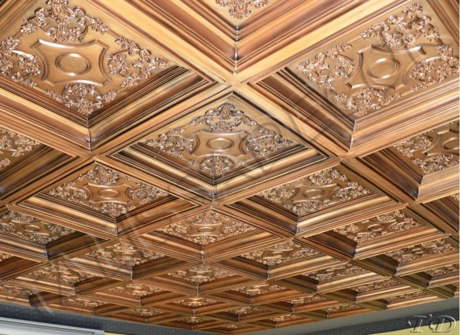 Incredible Faux Tin Drop in Ceiling Tile TD03 Aged Copper Coffered