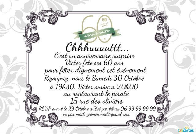 invitation anniversaire surprise 60 ans personnaliser en ligne et t l charger. Black Bedroom Furniture Sets. Home Design Ideas
