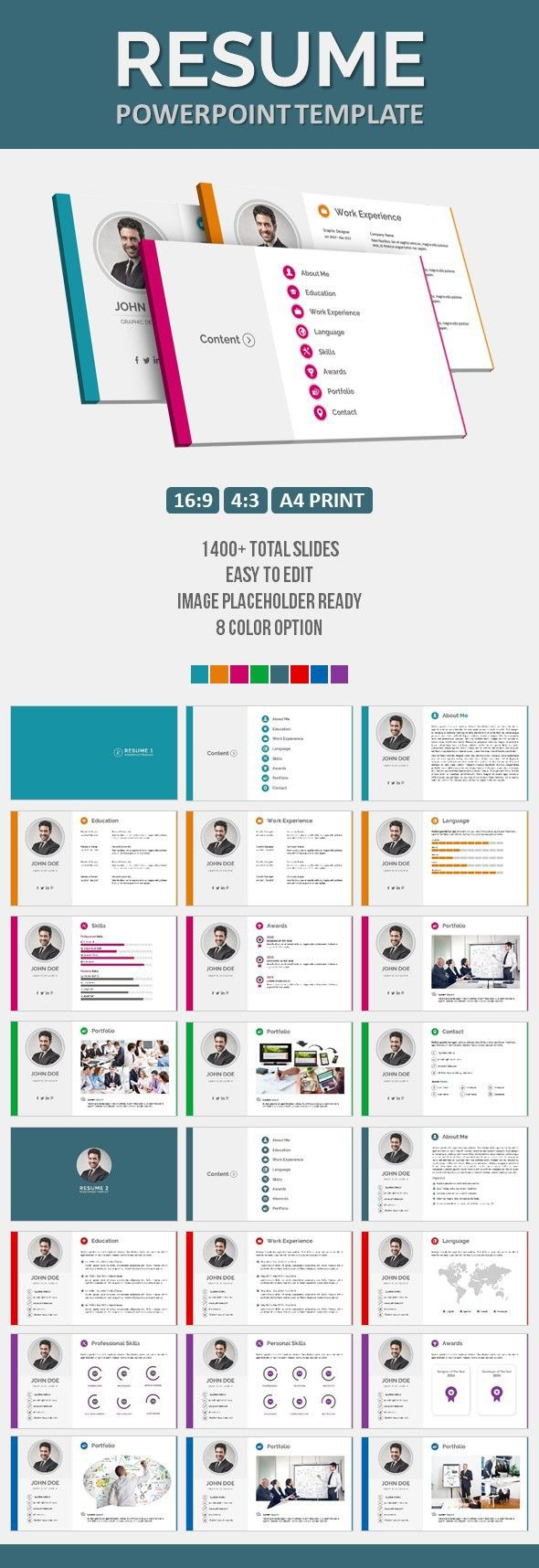 clean resume, creative resume, cv template, modern resume ...
