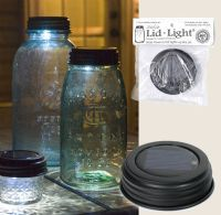 How clever!!  Solar lights in the jar lids!