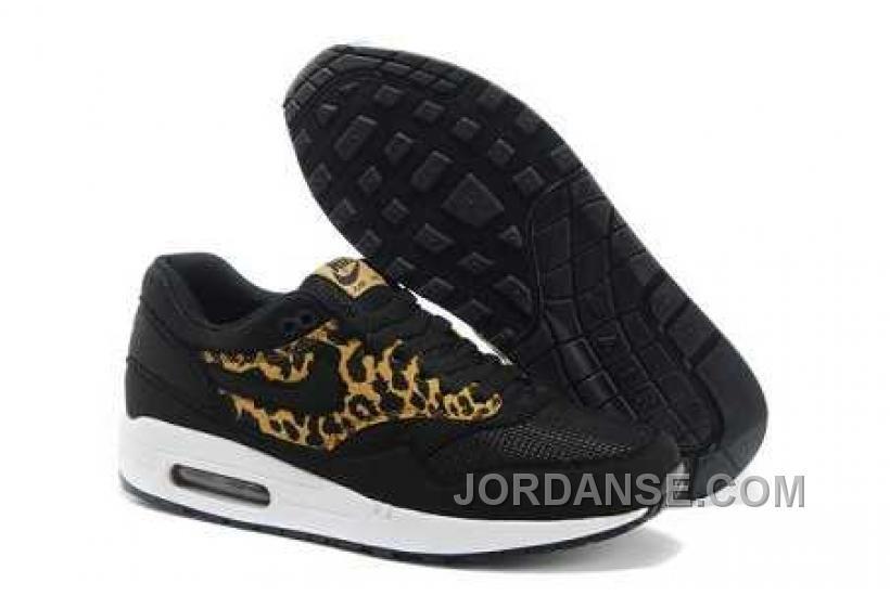 pick up b1a39 fe5a5 Original Herre Nike Air Max 1 Leopard Qs Sort Guld Hvide