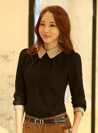 Pink&Wine Red&Black OL Style Fashion Slim Doll Collar Shirt