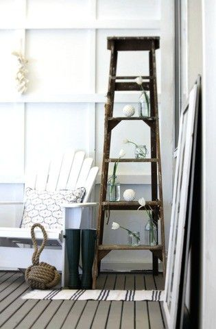 How To Use An Old Ladder As A Display 20 Ideas Ladder Decor Ladder Shelf Decor Old Ladder