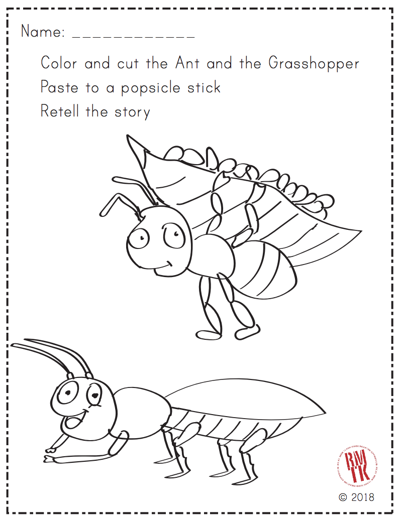 This is a picture of Nifty The Ant and the Grasshopper Story Printable