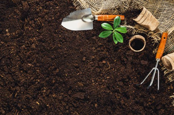 gardening tools on garden soil texture background top view ...