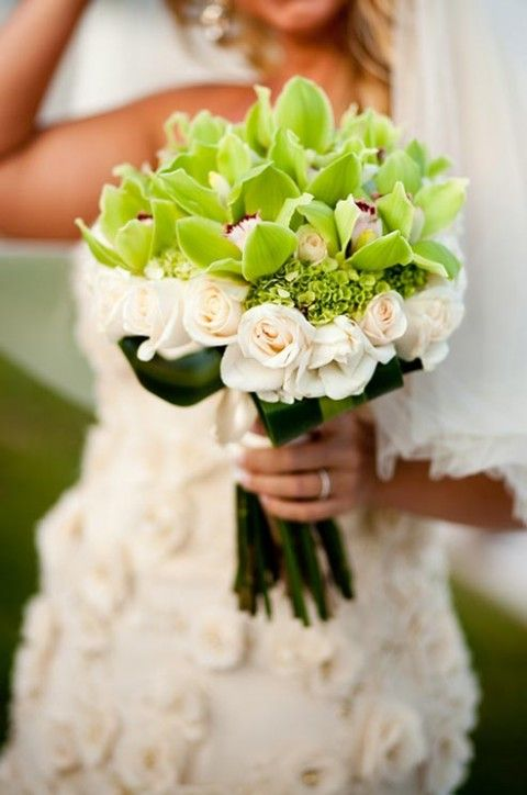 White Roses + Green Orchids Beach Wedding Bouquet