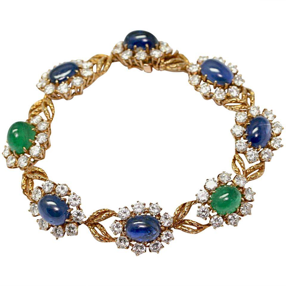 Van Cleef & Arpels Emerald Sapphire Diamond Gold Bracelet