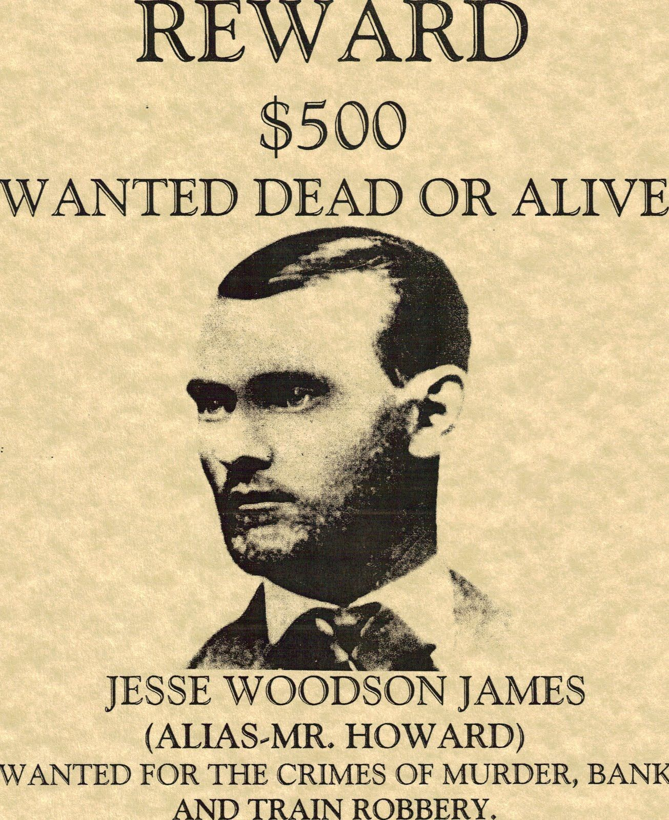 Jesse Woodson James was an American outlaw gang leader bank – Real Wanted Poster