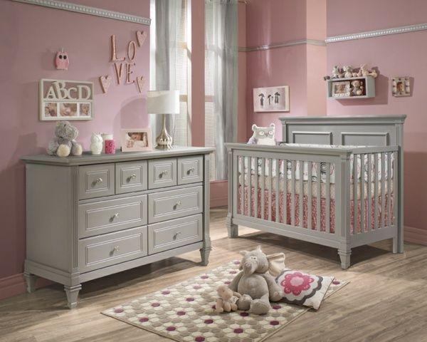 Babyzimmer weiß grau rosa  graue Möbel Babyzimmer rosa Wand Kanten Laminat | Baby und Kind ...