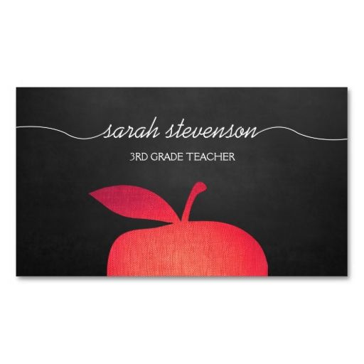Big red apple chalkboard school teacher business card teacher big red apple chalkboard school teacher business card templates i love this design it cheaphphosting Image collections