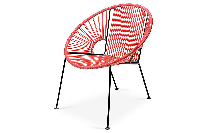 Mexa Ixtapa Lounge Chair - Coral | Modern lounge, Steel frame and Steel