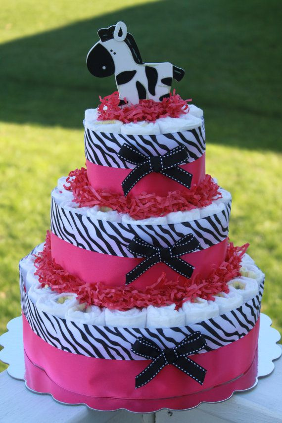 Pink Zebra Diaper Cake Baby Shower With Images Zebra Diaper