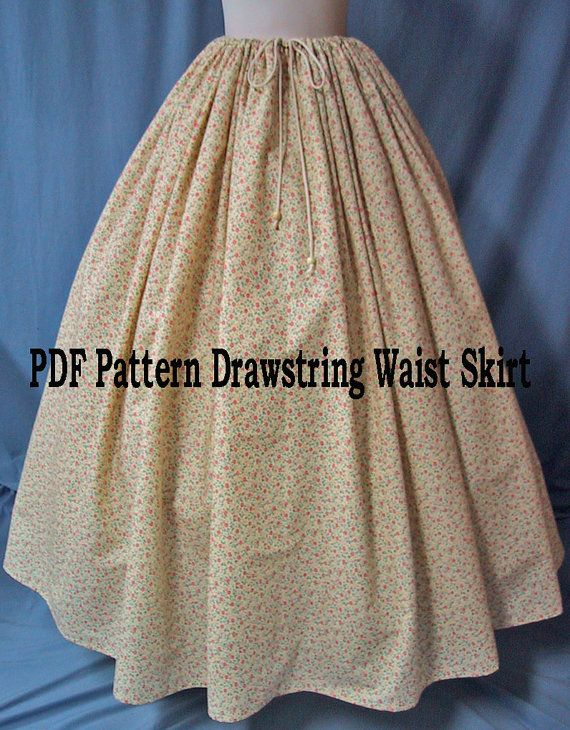 Sewing Instructions for Ladies Costume - Drawstring Waist Long Skirt ...